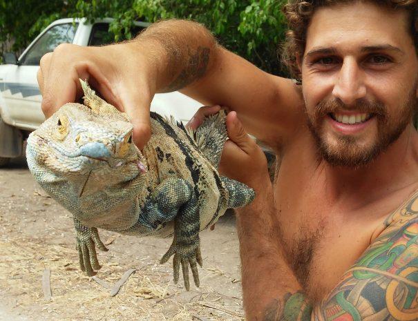 Felipe with lizard